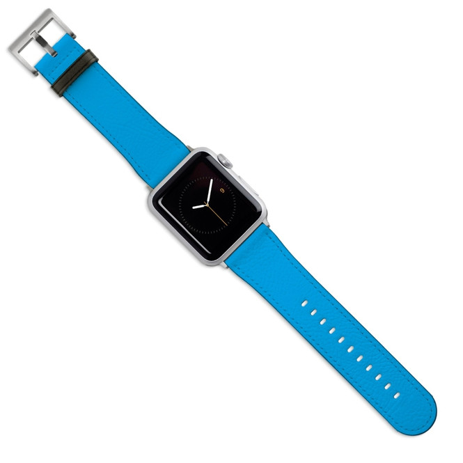 Apple Watch Band (44,42,40,38mm) Vegan Leather Strap Silver Buckle, iWatch Turquoise | iCoverLover