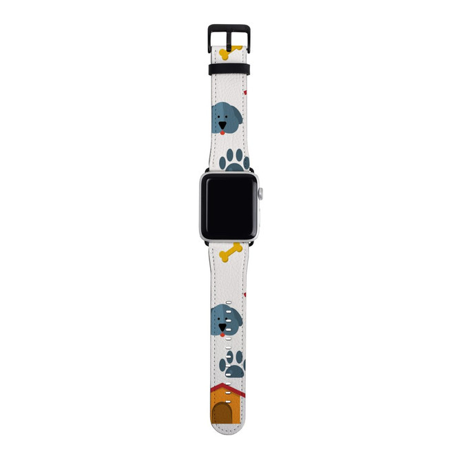 For Apple Watch Band 38mm/40mm PU Leather - Silver Lugs, Dog Pattern | iCoverLover Australia