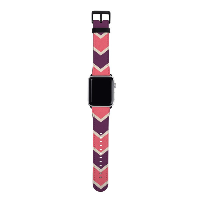 For Apple Watch Band 38mm/40mm PU Leather - Silver Lugs, Zigzag Pink Purple Pattern | iCoverLover Australia