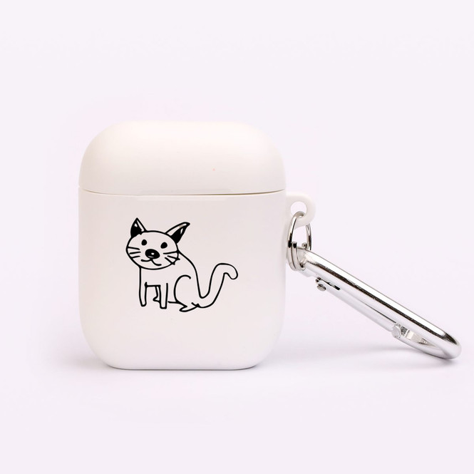 AirPods 1 & 2 Case, Protective TPU Box with Hook, Curious Cat | iCoverLover Australia
