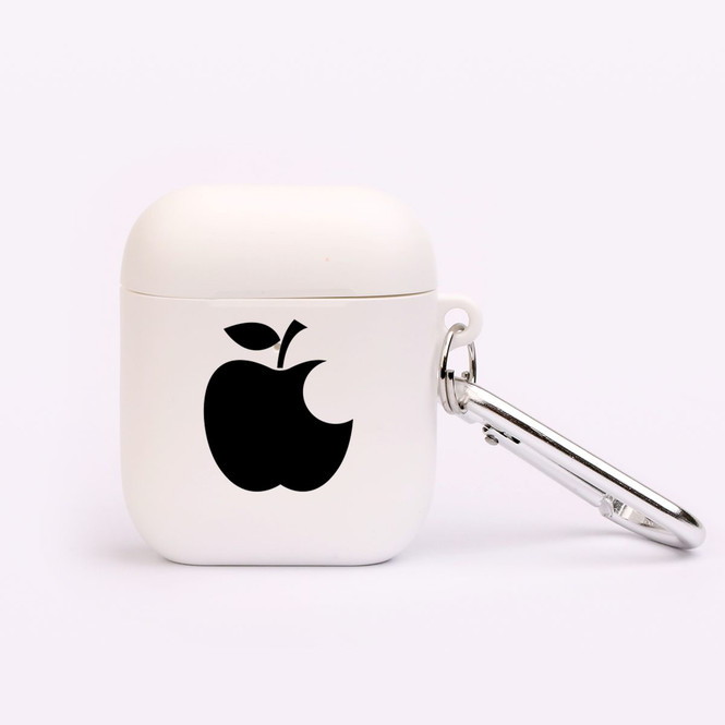 AirPods 1 & 2 Case, Protective TPU Box with Hook, Black Apple Bitten | iCoverLover Australia