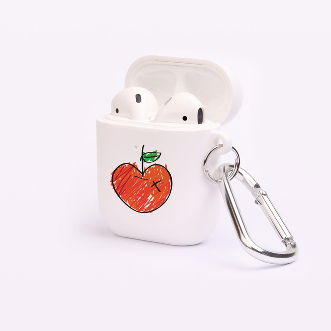 AirPods 1 & 2 Case, Protective TPU Box with Hook, Drawn Apple | iCoverLover Australia