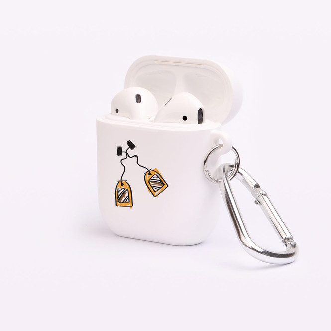 AirPods 1 & 2 Case, Protective TPU Box with Hook, Drawn Tea Bags | iCoverLover Australia