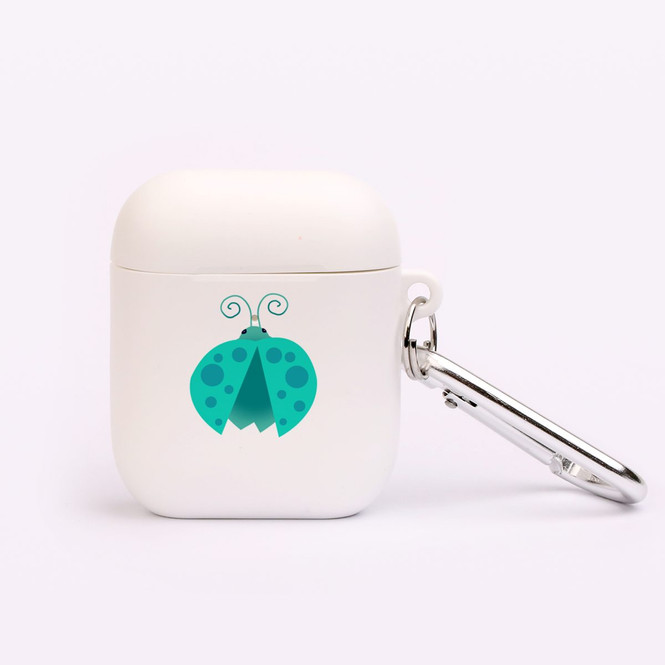 AirPods 1 & 2 Case, Protective TPU Box with Hook, Ladybug in Turquoise | iCoverLover Australia