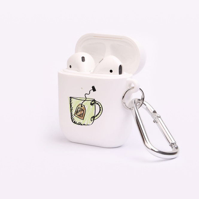 AirPods 1 & 2 Case, Protective TPU Box with Hook, Drawn Cup of Tea | iCoverLover Australia