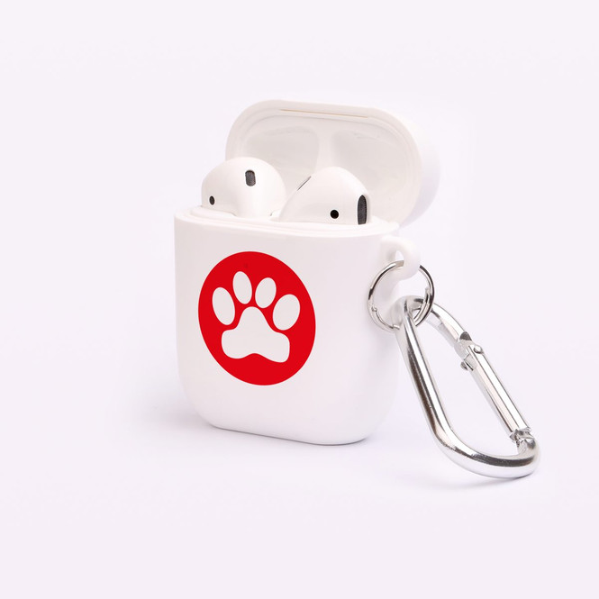 AirPods 1 & 2 Case, Protective TPU Box with Hook; Red Paw Print | iCoverLover Australia