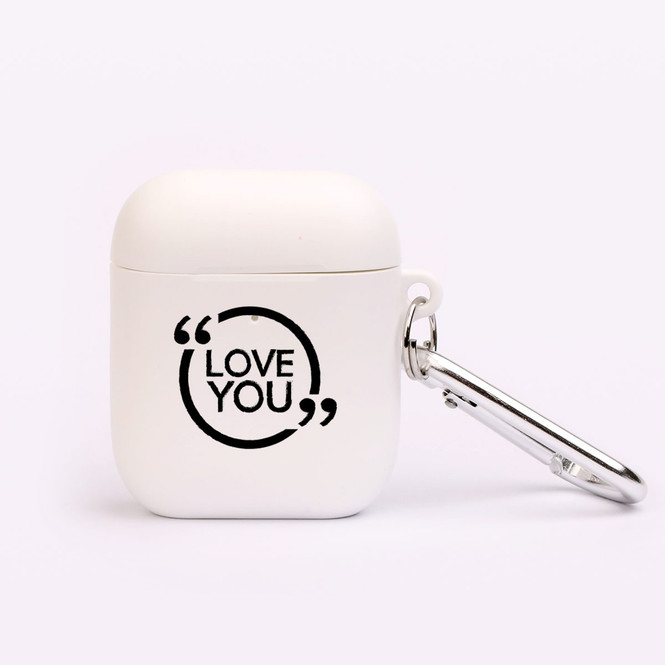 "AirPods 1 & 2 Case, Protective TPU Box with Hook, ""Love You"" 
