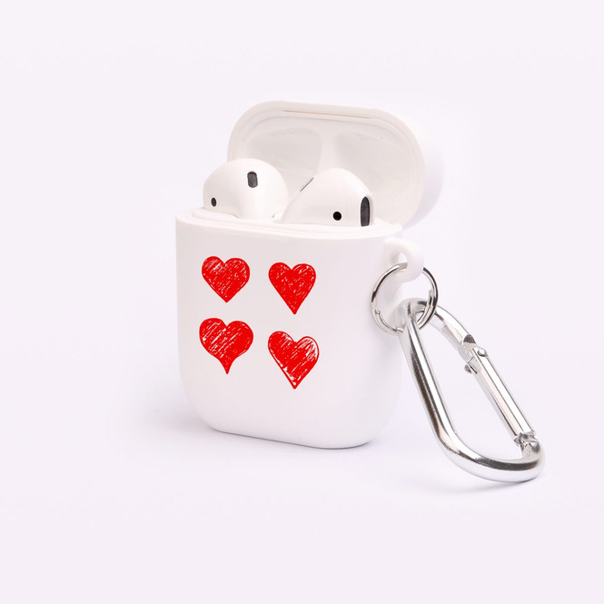 AirPods 1 & 2 Case, Protective TPU Box with Hook, Drawn Hearts | iCoverLover Australia
