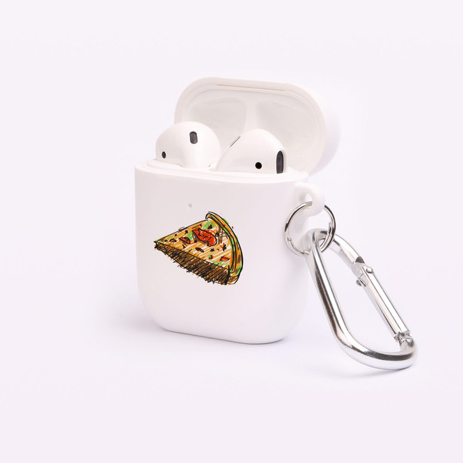 AirPods 1 & 2 Case, Protective TPU Box with Hook, Drawn Slice of Pizza | iCoverLover Australia
