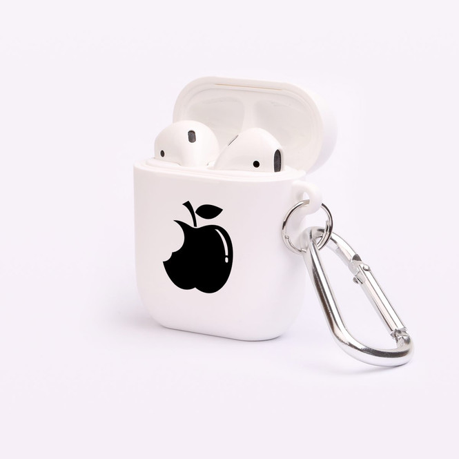 AirPods 1 & 2 Case, Protective TPU Box with Hook, Black Bitten Apple | iCoverLover Australia
