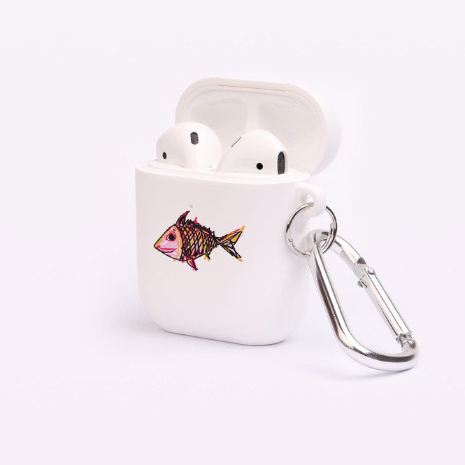 AirPods 1 & 2 Case, Protective TPU Box with Hook, Happy Fish | iCoverLover Australia