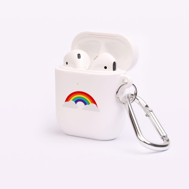 AirPods 1 & 2 Case, Protective TPU Box with Hook, Rainbow Connecting Clouds | iCoverLover Australia