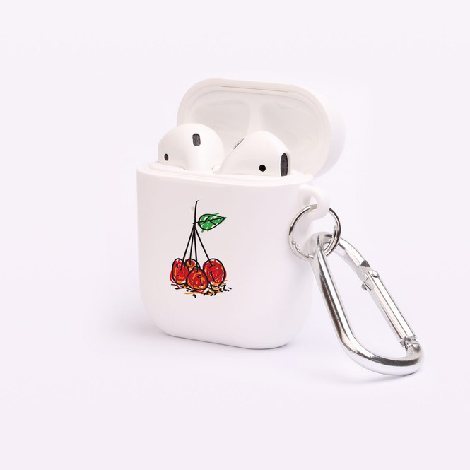AirPods 1 & 2 Case, Protective TPU Box with Hook, Drawn Cherries | iCoverLover Australia