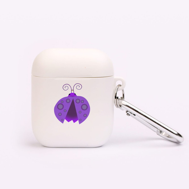 AirPods 1 & 2 Case, Protective TPU Box with Hook, Ladybug in Purple | iCoverLover Australia