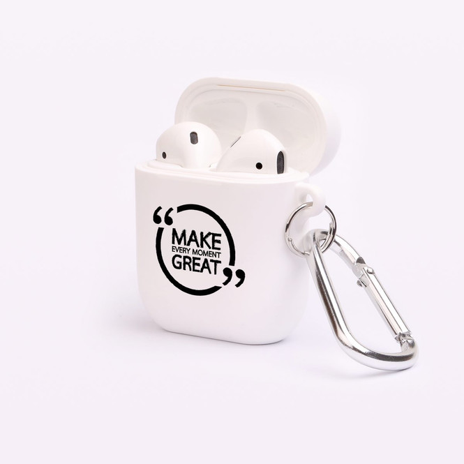 """AirPods 1 & 2 Case, Protective TPU Box with Hook, """"Make Every Moment Great"""" 