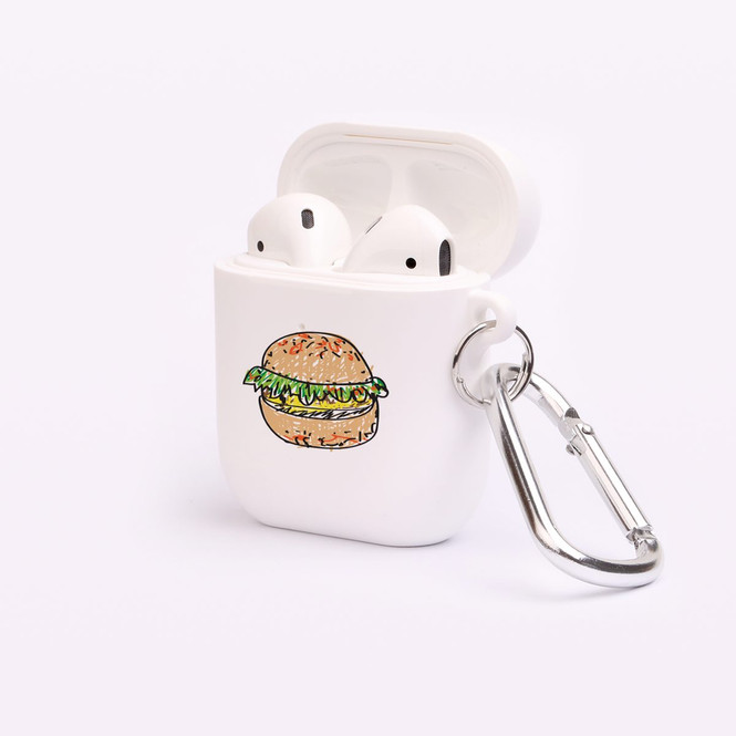 AirPods 1 & 2 Case, Protective TPU Box with Hook, Drawn Burger   iCoverLover Australia