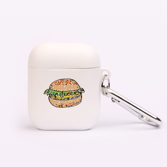 AirPods 1 & 2 Case, Protective TPU Box with Hook, Drawn Burger | iCoverLover Australia