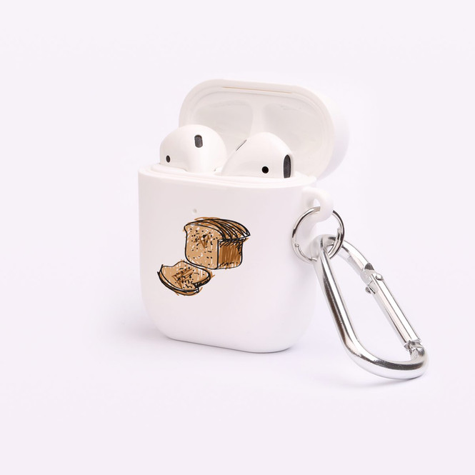 AirPods 1 & 2 Case, Protective TPU Box with Hook, Drawn Sliced Bread | iCoverLover Australia