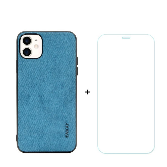iPhone 11, 11 Pro & 11 Pro Max Case Fabric Texture Blue Cover & Tempered Glass Screen Protector   iCoverLover Australia