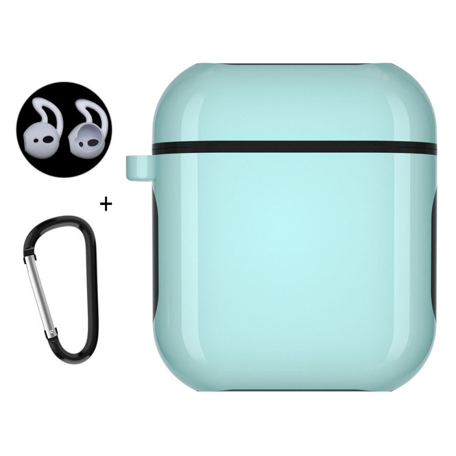 Apple AirPods 1 / 2 Case Wireless Earphone Strong Protective Cover with Carabiner & Earplugs Cyan