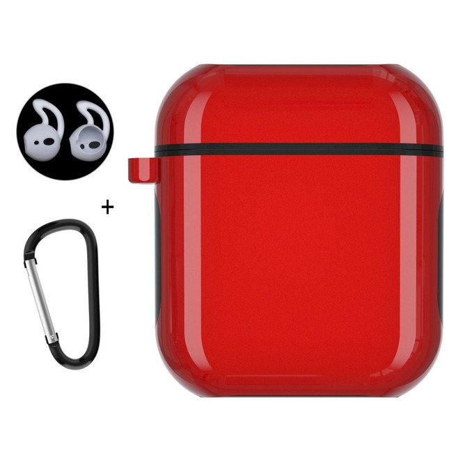 Apple AirPods 1 / 2 Case Wireless Earphone Strong Protective Cover with Carabiner & Earplugs Red