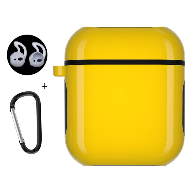 Apple AirPods 1 / 2 Case Wireless Earphone Strong Protective Cover with Carabiner & Earplugs Yellow
