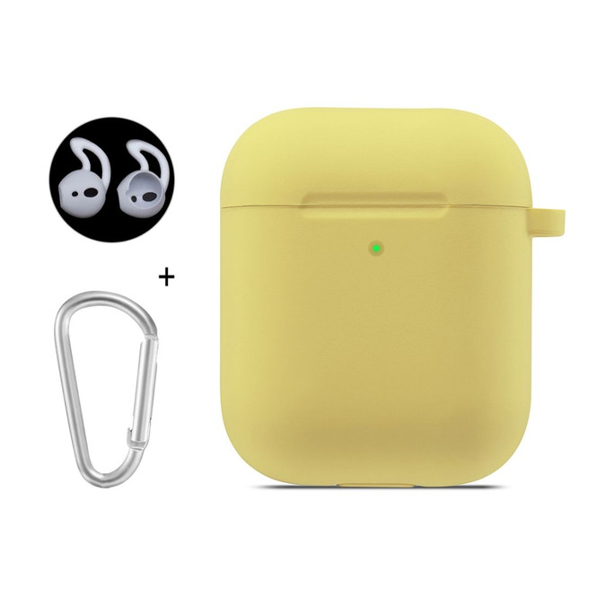 Apple AirPods 1 / 2 Case Wireless Earphone Silicone Soft Protective Cover with Carabiner & Earplugs Yellow
