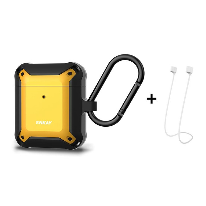 Apple AirPods 1 / 2 / Pro  Case Wireless Earphone Protective Cover with Carabiner & Anti-lost Rope Yellow