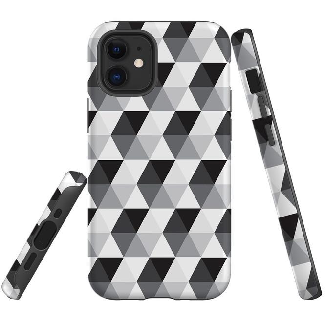 For Apple iPhone 12 Pro Max/12 Pro/12 mini Case, Tough Protective Back Cover, hexagonal grey black white | iCoverLover Australia