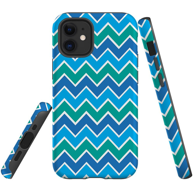 For Apple iPhone 12 Pro Max/12 Pro/12 mini Case, Tough Protective Back Cover, blue green abstract pattern | iCoverLover Australia