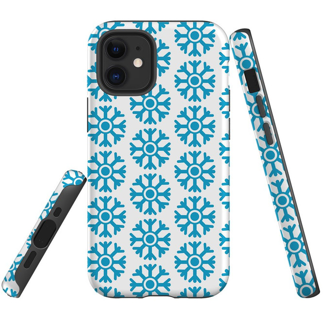 For Apple iPhone 13 Pro Max/13 Pro/13 mini,12 Pro Max/12 Pro/12 mini Case, Tough Protective Back Cover, blue snowflakes | iCoverLover Australia