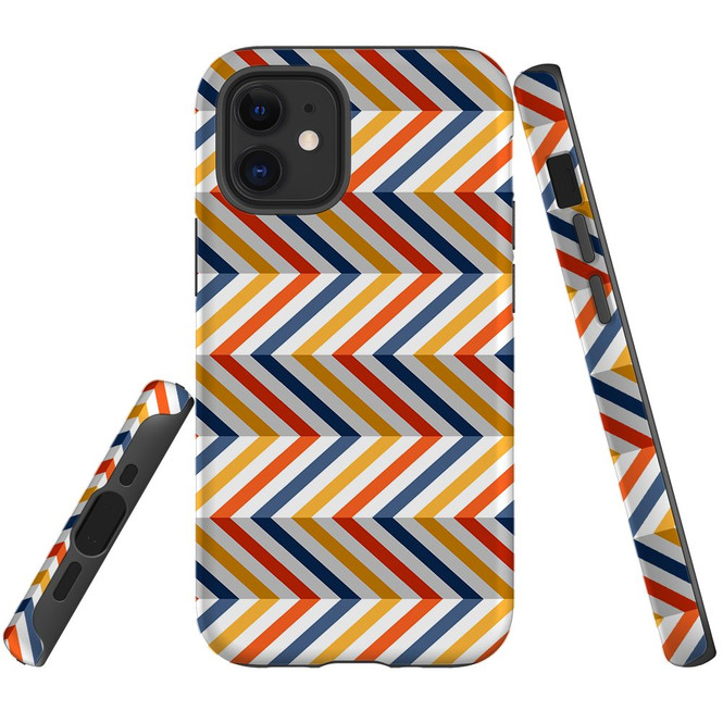 For Apple iPhone 12 Pro Max/12 Pro/12 mini Case, Tough Protective Back Cover, Zigzag left right colorful Pattern | iCoverLover Australia