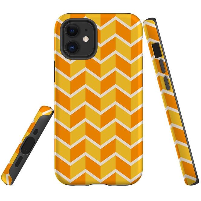 For Apple iPhone 13 Pro Max/13 Pro/13 mini,12 Pro Max/12 Pro/12 mini Case, Tough Protective Back Cover, Zigzag yellow orange Pattern | iCoverLover Australia