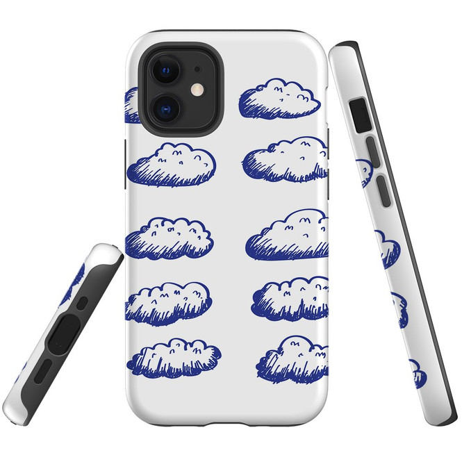 For Apple iPhone 12 Pro Max/12 Pro/12 mini Case, Tough Protective Back Cover, blue clouds | iCoverLover Australia