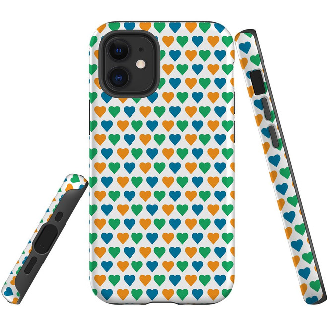 For Apple iPhone 12 Pro Max/12 Pro/12 mini Case, Tough Protective Back Cover, colourful heart pattern | iCoverLover Australia