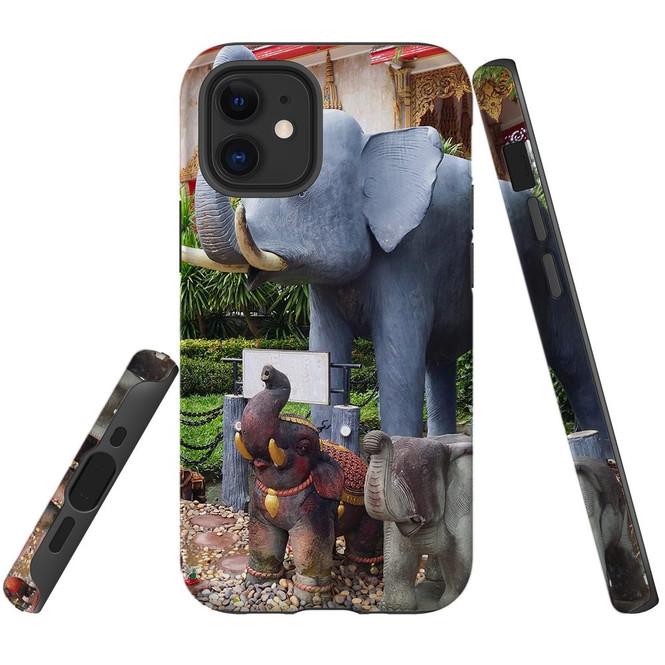 For Apple iPhone 12 Pro Max/12 Pro/12 mini Case, Tough Protective Back Cover, thai elephant statues | iCoverLover Australia