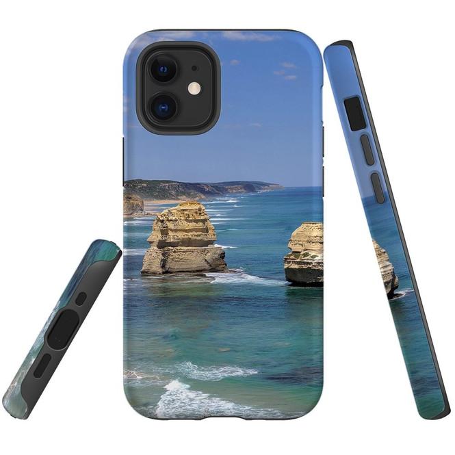 For Apple iPhone 12 Pro Max/12 Pro/12 mini Case, Tough Protective Back Cover, great ocean roarocks | iCoverLover Australia