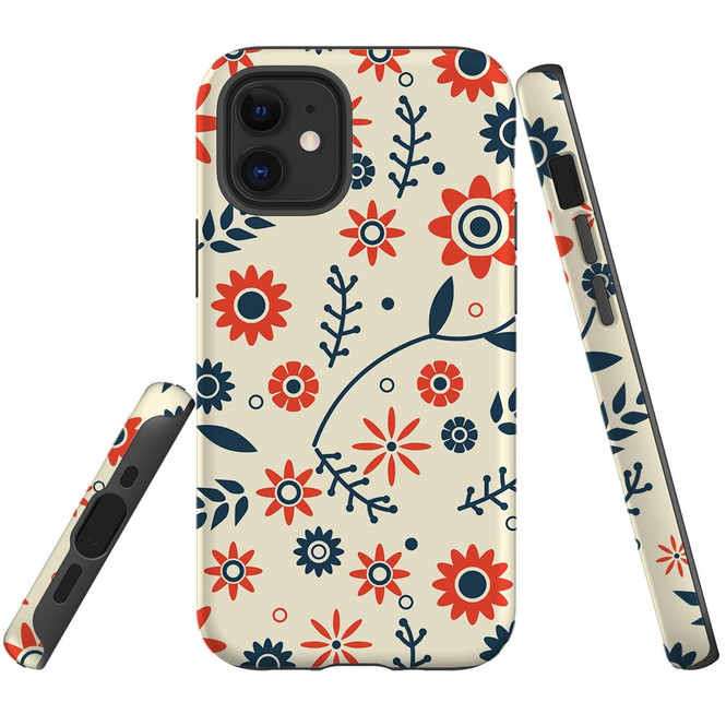 For Apple iPhone 12 Pro Max/12 Pro/12 mini Case, Tough Protective Back Cover, Flowers Pattern orange blue | iCoverLover Australia
