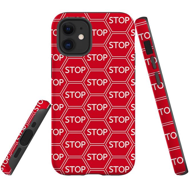 For Apple iPhone 13 Pro Max/13 Pro/13 mini,12 Pro Max/12 Pro/12 mini Case, Tough Protective Back Cover, stop sign pattern   iCoverLover Australia