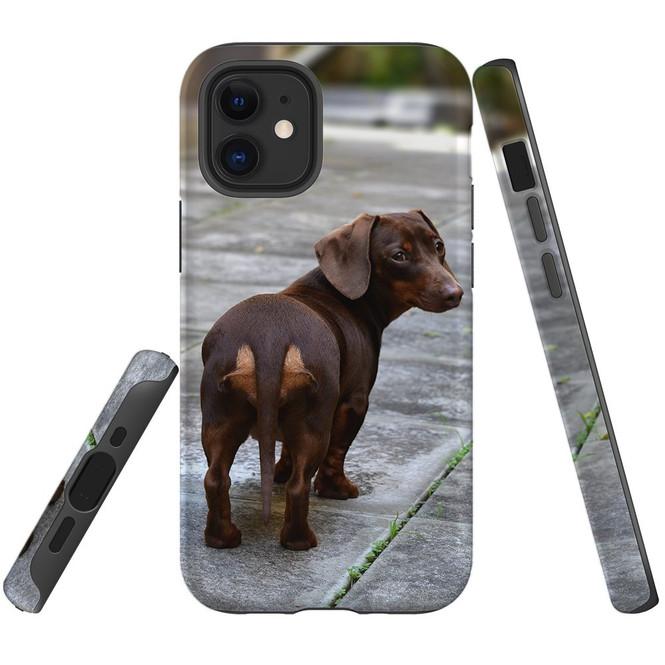 For Apple iPhone 12 Pro Max/12 Pro/12 mini Case, Tough Protective Back Cover, tan daschunvivi 1 | iCoverLover Australia