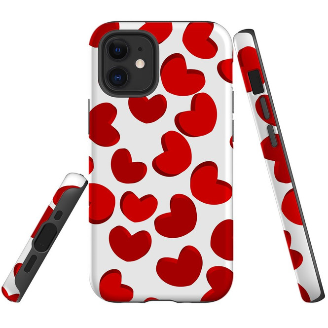 For Apple iPhone 12 Pro Max/12 Pro/12 mini Case, Tough Protective Back Cover, heart pattern | iCoverLover Australia