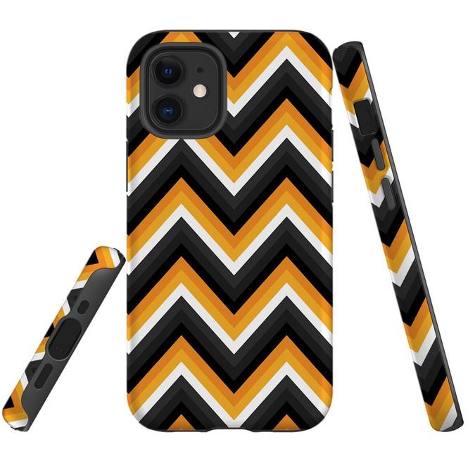 For Apple iPhone 12 Pro Max/12 Pro/12 mini Case, Tough Protective Back Cover, Zigzag black orange Pattern | iCoverLover Australia