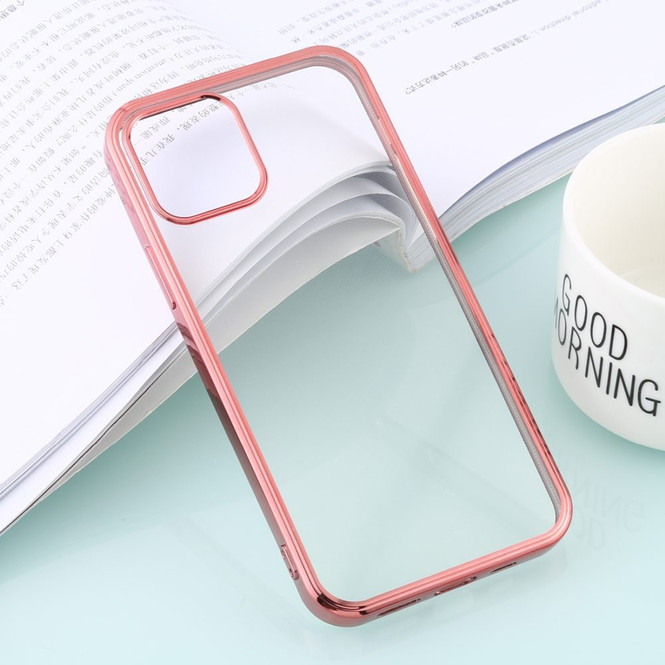 For iPhone 12, 12 mini, 12 Pro, 12 Pro Max Case, Clear Protective Back Cover, Electroplated Edges in Rose Gold | iCoverLover Australia