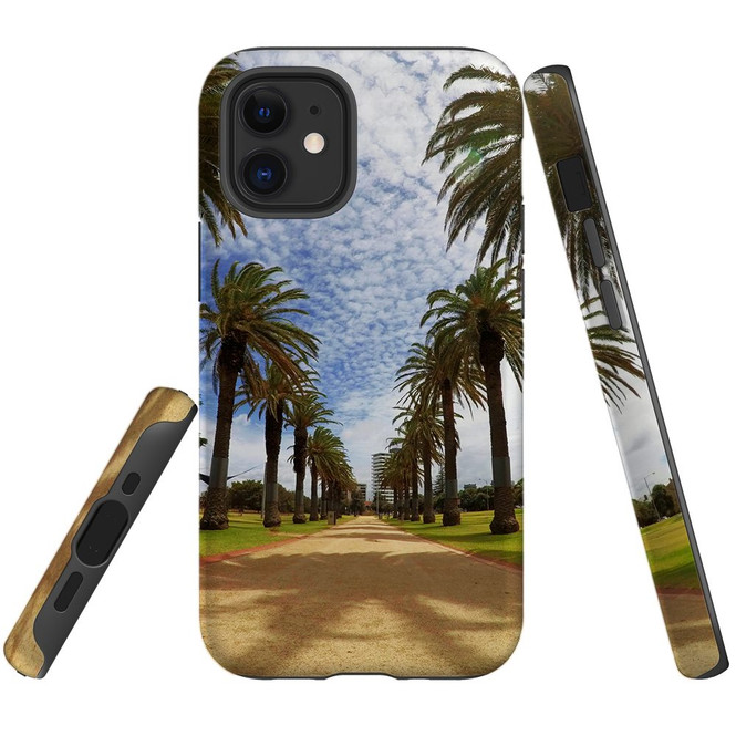 For Apple iPhone 12 Pro Max/12 Pro/12 mini Case, Tough Protective Back Cover, st kilda palm walkway 1   iCoverLover Australia