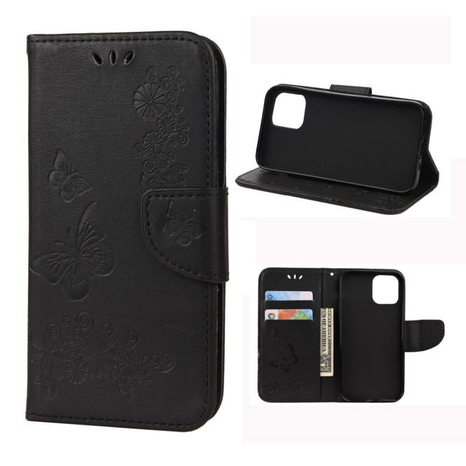 For iPhone 12, 12 mini, 12 Pro, 12 Pro Max Case, Vintage Butterflies Pattern PU Leather Wallet Cover, Stand, Black | iCoverLover Australia