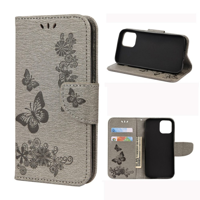 For iPhone 12, 12 mini, 12 Pro, 12 Pro Max Case, Vintage Butterflies Pattern PU Leather Wallet Cover, Stand, Grey | iCoverLover Australia