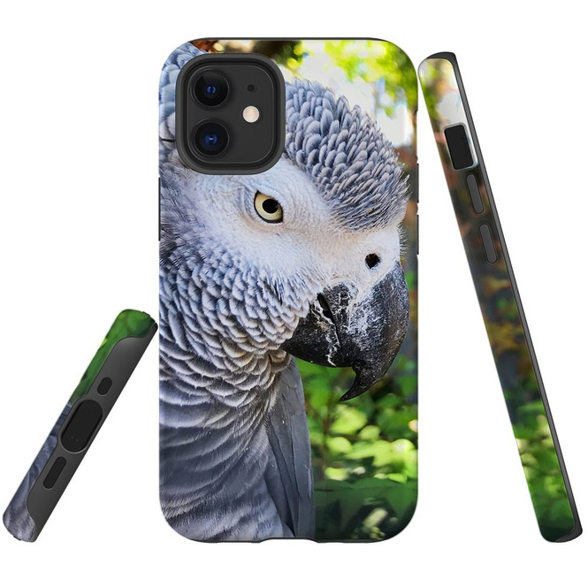 For Apple iPhone 12 Pro Max/12 Pro/12 mini Case, Tough Protective Back Cover, African Grey | iCoverLover Australia