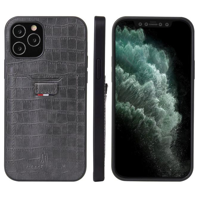 iPhone 12 Pro Max/12 Pro/12 mini Case, Crocodile Pattern PU Leather Card Slot Cover, Grey   iCoverLover Australia