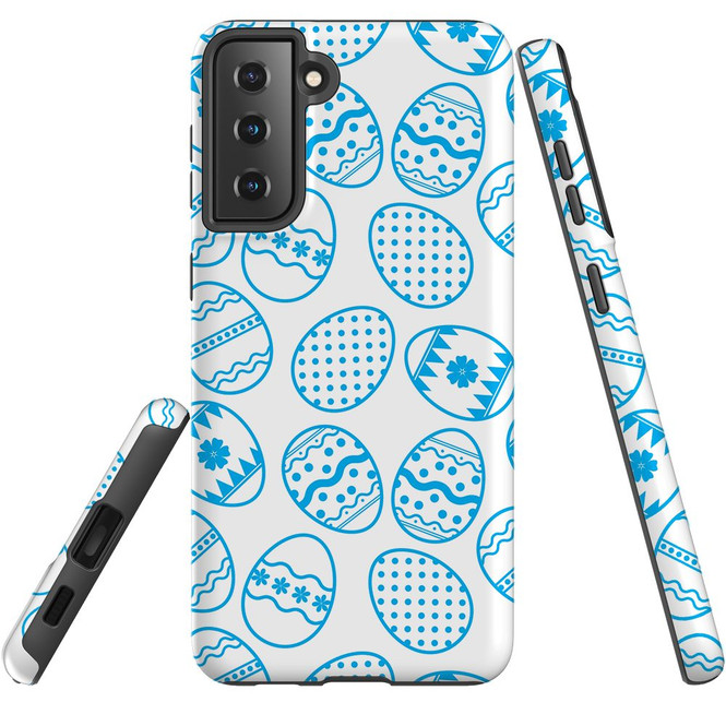 Samsung Galaxy S21 Ultra/S21+ Plus/S21  Case, Tough Protective Back Cover, Blue Easter Eggs | iCoverLover.com.au | Phone Cases