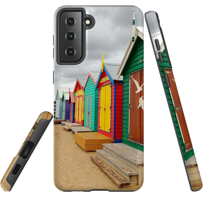 Samsung Galaxy S21 Ultra/S21+ Plus/S21  Case, Tough Protective Back Cover, Brighton Bathing Boxes | iCoverLover.com.au | Phone Cases